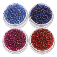 Srebrne szklane koraliki, Koraliki szklane, Koło, Pokryte srebrem, dostępnych więcej kolorów, 2x3mm, otwór:około 1mm, około 1600komputery/torba, sprzedane przez torba