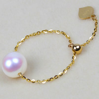 Natural Akoya Cultured Pearl Finger Ring, Akoya Cultured Pearls, with Brass, Round, adjustable, white, 7.5-8mm, US Ring Size:7-9, Sold By Bag