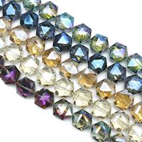 Hexagon kristalli helmiä, Kuusikulmio, värikäs päällystetty, kasvot, enemmän värejä valinta, 18x20x10mm, Reikä:N. 1.5mm, N. 30PC/Strand, Myyty Per N. 22 tuuma Strand