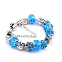 European Bracelet Zinc Alloy with Clay Pave   Lampwork   Brass Crown antique silver color plated different length for choice   with rhinestone nickel lead   cadmium free 180-200mm