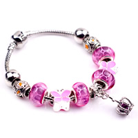 European Bracelet Zinc Alloy with Crystal   Lampwork   Brass Crown plated different length for choice   enamel nickel lead   cadmium free 180-200mm