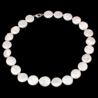 Natural Freshwater Pearl Necklace brass clasp Coin different length for choice   different styles for choice white 15-16mm