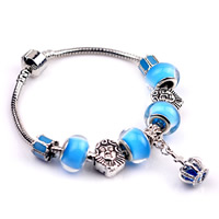 European Bracelet Zinc Alloy with brass chain   Crystal   Lampwork Crown plated different length for choice   enamel nickel lead   cadmium free 180-200mm
