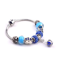 European Bracelet Zinc Alloy with Clay Pave   brass chain   Crystal   Lampwork Crown plated charm bracelet   different length for choice   with rhinestone nickel lead   cadmium free 180-200mm