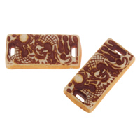 Acrylic Connectors, Rectangle, imitation ox bone, coffee color, 34x16x6mm, Hole:Approx 4x1mm, 2Bags/Lot, Approx 170PCs/Bag, Sold By Lot