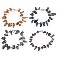 Браслеты из ракушек , Ракушка, с Пресноводные жемчуги, латунь замочек, разные стили для выбора, Много цветов для выбора, 7-8mm, Продан через Приблизительно 7.5 дюймовый Strand