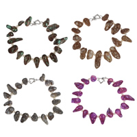 Браслеты из ракушек , Ракушка, с Пресноводные жемчуги, латунь замочек, разные стили для выбора, Много цветов для выбора, 8-11mm, Продан через Приблизительно 7.5 дюймовый Strand