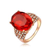 Австрийский хрусталь палец кольцо, цинковый сплав, с Австрийский хрусталь, Плоская овальная форма, плакирование настоящим розовым золотом, граненый, не содержит никель, свинец, 18x13mm, размер:6-9, продается PC