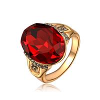 Австрийский хрусталь палец кольцо, цинковый сплав, с Австрийский хрусталь, Плоская овальная форма, плакирование настоящим розовым золотом, граненый, не содержит никель, свинец, 18x15mm, размер:6-9, продается PC
