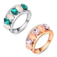 Австрийский хрусталь палец кольцо, цинковый сплав, с Австрийский хрусталь & кошачий глаз, Другое покрытие, граненый, Много цветов для выбора, не содержит никель, свинец, 20x9mm, размер:6-8, продается PC
