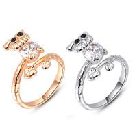 Австрийский хрусталь палец кольцо, цинковый сплав, с Австрийский хрусталь, Сова, Другое покрытие, граненый, Много цветов для выбора, не содержит никель, свинец, 12x17mm, размер:6-8, продается PC