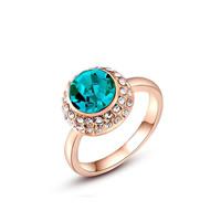 Австрийский хрусталь палец кольцо, цинковый сплав, с Австрийский хрусталь, Плоская круглая форма, плакирование настоящим розовым золотом, граненый, не содержит никель, свинец, 13x13mm, размер:6-8, продается PC