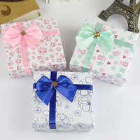 Cardboard Jewelry Set Box, finger ring & earring, with Satin Ribbon & Velveteen, with ribbon bowknot decoration & mixed, 8x8x4cm, 5Bags/Lot, 12PCs/Bag, Sold By Lot