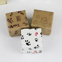 Kraft Pojedyncze pudełko na pierścionek, ze Tektura, Kwadrat, różne wzory do wyboru, 50x50x33mm, 5Torby/wiele, 12komputery/torba, sprzedane przez wiele