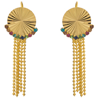 Fashion Fringe Earrings, Brass, 18K gold plated, flower cut & micro pave cubic zirconia, nickel, lead & cadmium free, 16x49mm, Sold By Pair