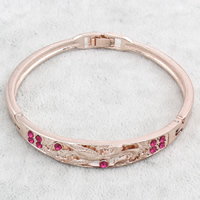 Zinc Alloy Bangle, rose gold color plated, with rhinestone, nickel, lead & cadmium free, 64x60x10mm, Inner Diameter:Approx 59x54mm, Length:Approx 6.5 Inch, Sold By PC