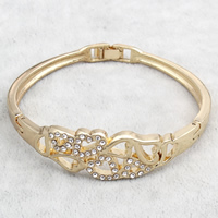 Zinc Alloy Bangle, gold color plated, with rhinestone, nickel, lead & cadmium free, 65x58x17mm, Inner Diameter:Approx 59x56mm, Length:Approx 6.5 Inch, Sold By PC