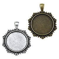 Zinc Alloy Pendant Cabochon Setting, Flat Round, plated, more colors for choice, 35x44x2.50mm, Hole:Approx 4x6.5mm, Inner Diameter:Approx 25mm, Approx 153PCs/KG, Sold By KG