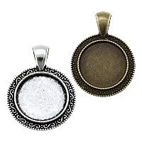 Zinc Alloy Pendant Cabochon Setting, Flat Round, plated, more colors for choice, nickel, lead & cadmium free, 25x34x2.50mm, Hole:Approx 4x6mm, Inner Diameter:Approx 18mm, Approx 250PCs/KG, Sold By KG
