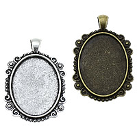 Zinc Alloy Pendant Cabochon Setting, Flat Oval, plated, more colors for choice, nickel, lead & cadmium free, 33x50x2.50mm, Hole:Approx 4x6.5mm, Inner Diameter:Approx 25x35mm, Approx 125PCs/KG, Sold By KG