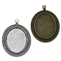 Zinc Alloy Pendant Cabochon Setting, Flat Oval, plated, more colors for choice, nickel, lead & cadmium free, 43x62x2.50mm, Hole:Approx 4x6.5mm, Inner Diameter:Approx 30x40mm, Approx 80PCs/KG, Sold By KG