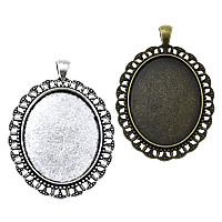 Zinc Alloy Pendant Cabochon Setting, Flat Oval, plated, more colors for choice, nickel, lead & cadmium free, 42x61x2.50mm, Hole:Approx 4x6mm, Inner Diameter:Approx 30x40mm, Approx 90PCs/KG, Sold By KG