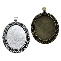 Zinc Alloy Pendant Cabochon Setting, Flat Oval, plated, more colors for choice, nickel, lead & cadmium free, 40x59x2.50mm, Hole:Approx 4x6mm, Inner Diameter:Approx 30x40mm, Approx 83PCs/KG, Sold By KG