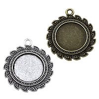 Zinc Alloy Pendant Cabochon Setting, Flat Round, plated, more colors for choice, nickel, lead & cadmium free, 36x41x2.50mm, Hole:Approx 3mm, Inner Diameter:Approx 22mm, Approx 166PCs/KG, Sold By KG