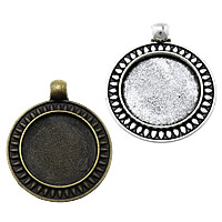 Zinc Alloy Pendant Cabochon Setting, Flat Round, plated, more colors for choice, nickel, lead & cadmium free, 28x34x2.50mm, Hole:Approx 3mm, Inner Diameter:Approx 20mm, Approx 200PCs/KG, Sold By KG