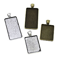 Zinc Alloy Pendant Cabochon Setting, Rectangle, plated, different size for choice, more colors for choice, nickel, lead & cadmium free, Hole:Approx 4x6mm, Sold By KG