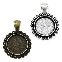 Zinc Alloy Pendant Cabochon Setting, Flat Round, plated, more colors for choice, nickel, lead & cadmium free, 23x33x2.50mm, Hole:Approx 4x6.5mm, Inner Diameter:Approx 16mm, Approx 285PCs/KG, Sold By KG