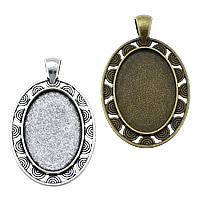 Zinc Alloy Pendant Cabochon Setting, Flat Oval, plated, more colors for choice, nickel, lead & cadmium free, 30x48x2.50mm, Hole:Approx 4x6mm, Inner Diameter:Approx 20x30mm, Approx 153PCs/KG, Sold By KG