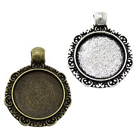 Zinc Alloy Pendant Cabochon Setting, Flat Round, plated, more colors for choice, nickel, lead & cadmium free, 22x27x2.50mm, Hole:Approx 3mm, Inner Diameter:Approx 16mm, Approx 333PCs/KG, Sold By KG
