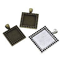 Zinc Alloy Pendant Cabochon Setting, Square, plated, different size for choice, more colors for choice, nickel, lead & cadmium free, Hole:Approx 4x6mm, Sold By KG