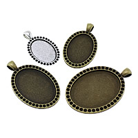 Zinc Alloy Pendant Cabochon Setting, Flat Oval, plated, different size for choice, more colors for choice, nickel, lead & cadmium free, Hole:Approx 4x6.5mm, Sold By KG