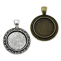 Zinc Alloy Pendant Cabochon Setting, Flat Round, plated, more colors for choice, nickel, lead & cadmium free, 28x37x2.50mm, Hole:Approx 4x6.5mm, Inner Diameter:Approx 20mm, Approx 200PCs/KG, Sold By KG