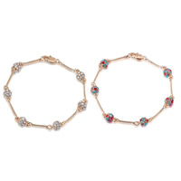 Zinc Alloy Bracelet Round plated with Austria rhinestone nickel lead   cadmium free 7mm Sold Per Approx 8 Inch Strand