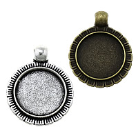 Zinc Alloy Pendant Cabochon Setting, Flat Round, plated, more colors for choice, nickel, lead & cadmium free, 22x28x2.50mm, Hole:Approx 3mm, Inner Diameter:Approx 16mm, Approx 333PCs/KG, Sold By KG