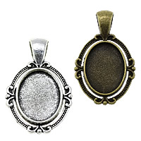 Zinc Alloy Pendant Cabochon Setting, Flat Oval, plated, more colors for choice, nickel, lead & cadmium free, 21x34x2.50mm, Hole:Approx 4x6.5mm, Inner Diameter:Approx 13x18mm, Approx 285PCs/KG, Sold By KG