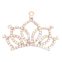 Zinc Alloy Crown Pendants, gold color plated, with rhinestone, nickel, lead & cadmium free, 72x53x3mm, Hole:Approx 4mm, Sold By PC