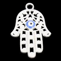 Zinklegering Hamsa Hangers, Zinc Alloy, Evil Hamsa Eye, silver plated, Islam sieraden & glazuur, nikkel, lood en cadmium vrij, 25x39x3.50mm, Gat:Ca 3mm, 10pC's/Bag, Verkocht door Bag