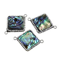 Shell Connector, Brass, with Rhinestone Clay Pave & Abalone Shell, Rhombus, platinum color plated, natural & 1/1 loop, nickel, lead & cadmium free, 33x25x4mm, Hole:Approx 2mm, 10PCs/Lot, Sold By Lot