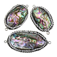 Shell Connector, Brass, with Rhinestone Clay Pave & Abalone Shell, Flat Oval, platinum color plated, natural & 1/1 loop, nickel, lead & cadmium free, 35-44x19-23.5x8.5-10.5mm, Hole:Approx 2mm, 10PCs/Lot, Sold By Lot