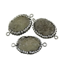 Druzy Connector Brass with Rhinestone Clay Pave   Agate Flat Oval platinum color plated druzy style   1/1 loop nickel lead   cadmium free 32-33x18.5-20x7-8mm Hole:Approx 3x5mm 10PCs/Lot