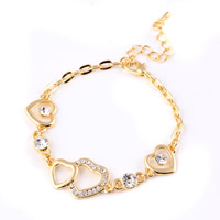 Zinc Alloy Bracelet with brass chain with 4cm extender chain Heart gold color plated oval chain   with rhinestone nickel lead   cadmium free 170mm Sold Per Approx 6.5 Inch Strand