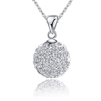 Rhinestone Pendant, 925 Sterling Silver, with Rhinestone Clay Pave, Round, different size for choice, Hole:Approx 3x4mm, 5PCs/Lot, Sold By Lot