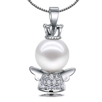 South Sea Shell Pendant 925 Sterling Silver with South Sea Shell Angel natural with cubic zirconia 12x22mm Hole:Approx 3x4mm 5PCs/Lot