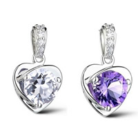Brass Heart Pendants, with Glass, real silver plated, faceted, more colors for choice, nickel, lead & cadmium free, 10x16mm, Hole:Approx 3-5mm, Sold By PC