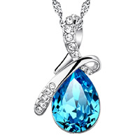 Rhinestone Brass Pendants, with Glass, Teardrop, real silver plated, faceted & with rhinestone, nickel, lead & cadmium free, 15x27mm, Hole:Approx 3-5mm, Sold By PC