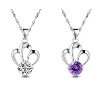 Rhinestone Brass Pendants, Crown, real silver plated, with rhinestone, more colors for choice, nickel, lead & cadmium free, 10x21mm, Hole:Approx 3-5mm, Sold By PC